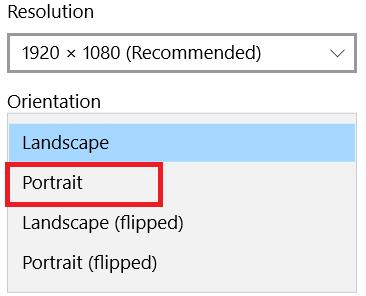 Select portrait from the orientation menu